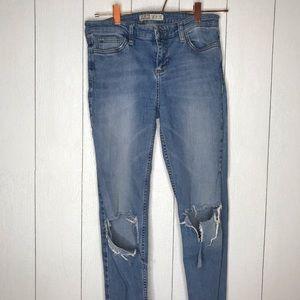 Zara Raw Hem Distressed Knee Skinny Jeans!